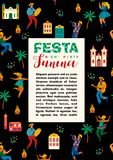 Festa Junina. Vector template. For Latin American holiday, the June party of Brazil. Design for card, poster, banner, flyer, invintation and over use Royalty Free Stock Image