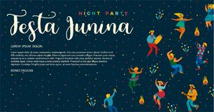 Festa Junina. Vector templates. For Latin American holiday, the June party of Brazil. Design for banner and over use Royalty Free Stock Photo