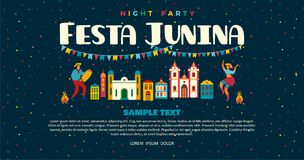 Festa Junina. Vector templates. For Latin American holiday, the June party of Brazil. Design for banner and over use Stock Image