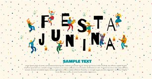 Festa Junina. Vector templates. For Latin American holiday, the June party of Brazil. Design for banner and over use Royalty Free Stock Photography