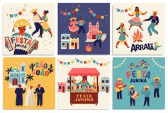 Festa Junina. Vector templates for Latin American holiday, the June party of Brazil. Design for card, poster, banner. Flyer, invitation and over use stock illustration