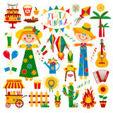Festa Junina village festival in Latin America. Icons set in bri. Ght color. Flat style decoration Stock Images