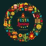 Festa Junina village festival in Latin America. Icons set in bri. Ght color. Flat style decoration Stock Photos