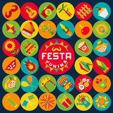 Festa Junina village festival in Latin America. Icons set in bri Royalty Free Stock Image