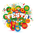 Festa Junina village festival in Latin America. Icons set in bri Royalty Free Stock Photo