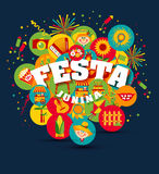 Festa Junina village festival in Latin America. Icons set in bri Royalty Free Stock Images