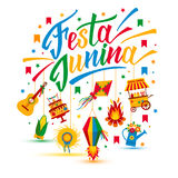 Festa Junina village festival in Latin America. Icons set in bri Stock Photo