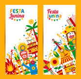 Festa Junina village festival in Latin America. Icons set in bri. Ght color. Flat style decoration. Banners set Stock Images
