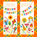 Festa Junina village festival in Latin America. Icons set in bri. Ght color. Flat style decoration. Banners set Royalty Free Stock Image