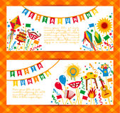 Festa Junina village festival in Latin America. Icons set in bri. Ght color. Flat style decoration. Banners set Royalty Free Stock Photos