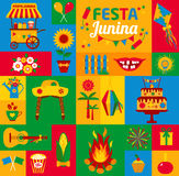 Festa Junina village festival in Latin America. Icons set in bri Stock Photos