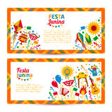 Festa Junina village festival in Latin America. Icons set in bri. Ght color. Flat style decoration. Banners set Royalty Free Stock Images