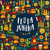 Festa Junina village festival in Latin America. Icons set in bri Royalty Free Stock Photos