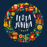 Festa Junina village festival in Latin America. Icons set in bri Stock Photography