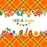 Festa Junina village festival in Latin America. Icons set in bri. Ght color. Festival style decoration Royalty Free Stock Image