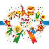 Festa Junina village festival in Latin America. Icons set in bright color. Flat style decoration Royalty Free Stock Photo