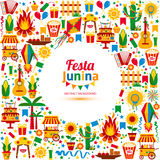 Festa Junina village festival in Latin America. Icons set in bright color. Flat style decoration Royalty Free Stock Photography