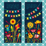 Festa Junina village festival in Latin America. Icons set in bright color. Flat style decoration. Banners set Stock Images