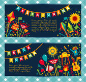 Festa Junina village festival in Latin America. Icons set in bright color. Flat style decoration. Banners set Royalty Free Stock Photo