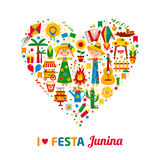 Festa Junina village festival in Latin America. Icons set in bright color. Flat style decoration. I love festa junina. Heart of color icon set Stock Photos