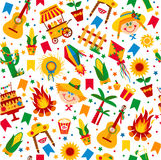 Festa Junina village festival in Latin America. Icons set in bright color. Flat style decoration. Seamless pattern Royalty Free Stock Photos