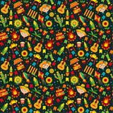 Festa Junina village festival in Latin America. Icons set in bright color. Flat style decoration. Seamless pattern on dark Royalty Free Stock Images
