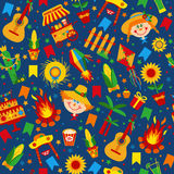 Festa Junina village festival in Latin America. Icons set in bright color. Flat style decoration. Seamless pattern on dark blue Royalty Free Stock Photos