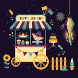 Festa Junina village festival in Latin America. Icons set in bright color. Flat style decoration. Street cart with food. Festa Junina village festival in Latin Royalty Free Stock Image