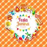 Festa Junina village festival in Latin America. Icons set in bright color. Festival style decoration Royalty Free Stock Image