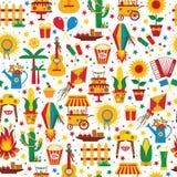 Festa Junina village festival in Latin America. Seamless pattern Stock Photography