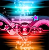 Festa klubbareklambladet för musikhändelse med explosion av färger Arkivbilder