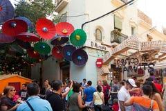 Festa Major de Gracia i Barcelona, Catalonia Arkivfoton