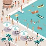 Festa na piscina do verão no recurso luxuoso ilustração royalty free