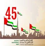 Festa nazionale degli Emirati Arabi Uniti UAE con un'iscrizione nella traduzione araba Fotografie Stock