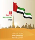 Festa nazionale degli Emirati Arabi Uniti UAE, con un'iscrizione nella traduzione araba Immagini Stock