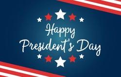 Festa nazionale del Day Stati Uniti di presidente felice Cartolina d'auguri con i simboli della bandiera americana, con le bande  illustrazione vettoriale