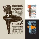 Festa praticante il surfing in Hawai Fotografia Stock Libera da Diritti