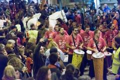 Festa Sant Medir in der Nacht Stockbilder