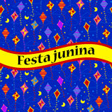 Festa unina celebration card with kites Stock Images