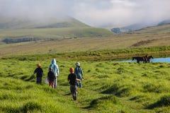 Montagne che vanno pescando i bambini   Fotografia Stock