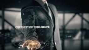 Feste creative con il concetto dell'uomo d'affari dell'ologramma Fotografia Stock Libera da Diritti