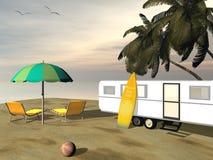 Feste del caravan alla spiaggia - 3D rendono Immagini Stock