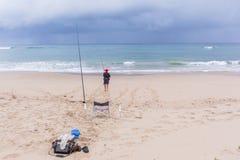 Feste dell'oceano della spiaggia di pesca Fotografia Stock Libera da Diritti