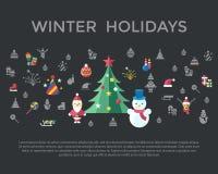 Feste di natale e del nuovo anno di vettore di Digital fissate Immagine Stock