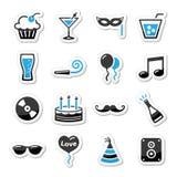 Feste ed icone del partito impostate come contrassegni Fotografia Stock Libera da Diritti