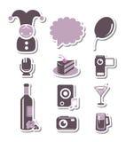 Feste ed icone di carta del partito Fotografie Stock