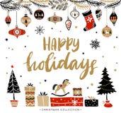 Feste felici Cartolina d'auguri di Natale con la calligrafia Immagine Stock