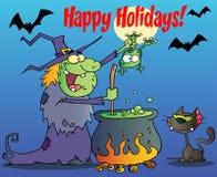 Feste felici che accolgono sopra una strega verde Fotografia Stock Libera da Diritti