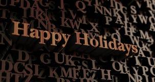 Feste felici - 3D di legno ha reso le lettere/messaggio Fotografia Stock Libera da Diritti