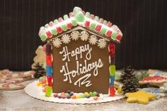 Feste felici della casa di pan di zenzero! Immagini Stock Libere da Diritti